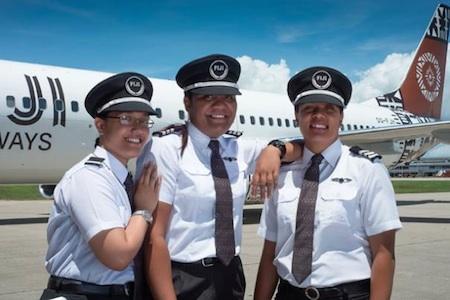 L-R: Second Officer Vanika Itautoka, First Officer Selai Saumi, First Officer Seini Koroitamana showcase the new Fiji Airways pilot uniforms. Photo: Fiji Airways / Feroz Khalil