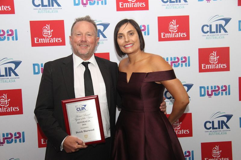 Home Based Agent of the Year Derek Harwood Travel Managers with Rocky Mountaineers' Dianna Shinella