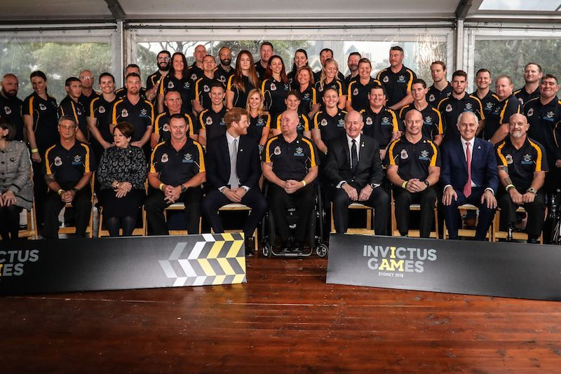 Prince Harry with Team Invictus Australia training squad