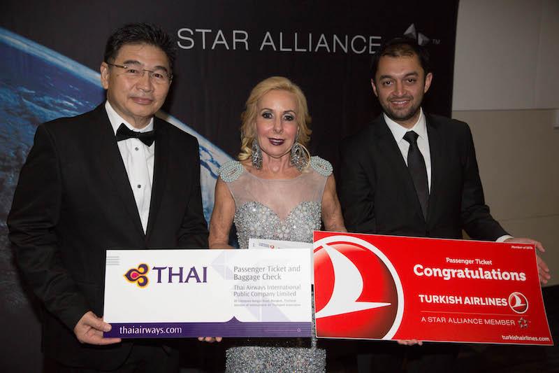 Prin Yooprasert (Thai Airways), Debbie Ashes (Helloworld Lane Cove) and Ebuzer Tanhan (Turkish Airlines)