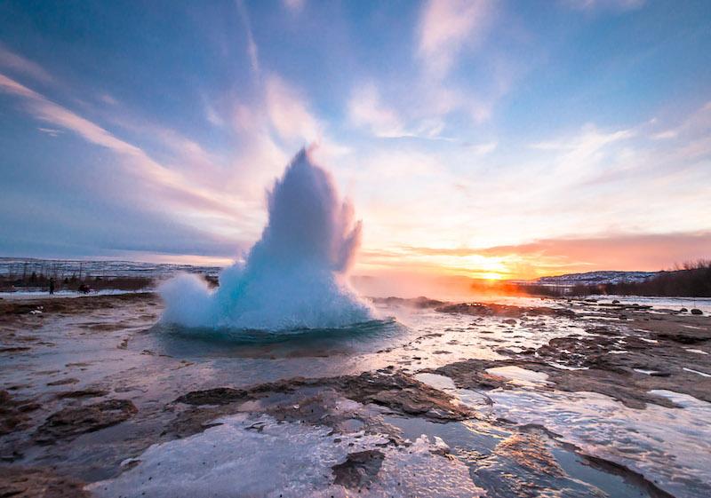 Geyser Strokkur in Iceland,