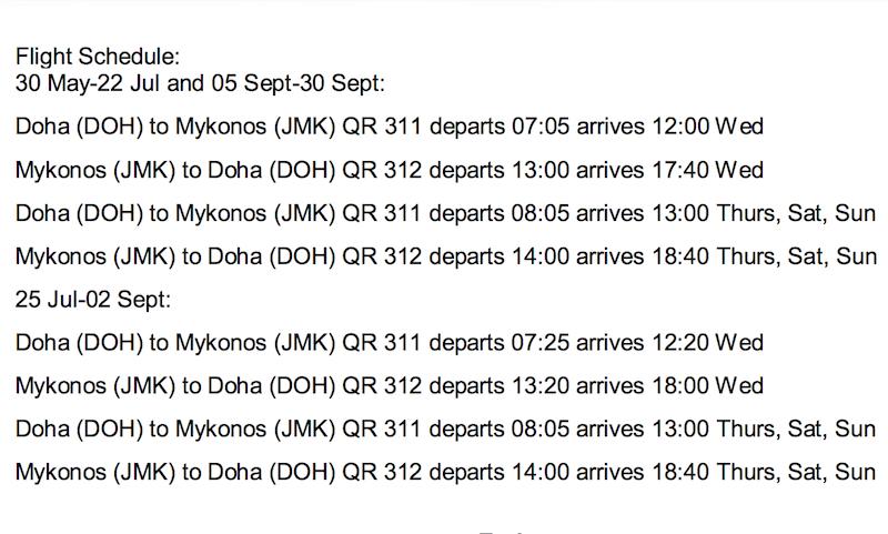 Mykonos Flight Schedule
