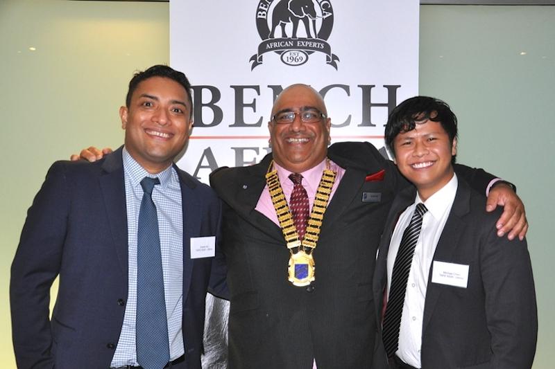 TAFE scholarship winners Edwin Ali & Michael Chen with Walter Nand SIS President