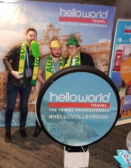 L-R- Ian Clark, Aaron Eades and Joel Crocker from Helloworld Travel Limited enjoying the #HelloVolleyroos Photo Booth.